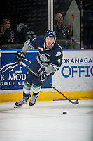 KELOWNA, CANADA - APRIL 22: Turner Ottenbreit #4 of Seattle Thunderbirds skates with the puck against the Kelowna Rockets on April 22, 2016 at Prospera Place in Kelowna, British Columbia, Canada.  (Photo by Marissa Baecker/Shoot the Breeze)  *** Local Caption *** Turner Ottenbreit;