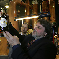 Launch of 1488 Whisky Ale by Tullibardine Distillery..<br />Pictured are Douglas Ross of Bridge of Allan brewery holding a bottle and Doug Ross Director of Tullibardine Distillery.<br /><br />Picture by Graeme Hart.<br />Copyright Perthshire Picture Agency<br />Tel: 01738 623350  Mobile: 07990 594431
