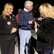 Candidate for Carolina Beach Town Council LeAnn Pierce talks to a voter outside of the Carolina Beach Recreation Center November 5, 2013. (Jason A. Frizzelle)