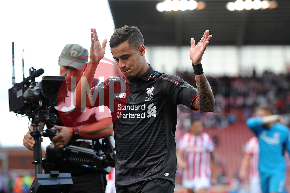 Philippe Coutinho of Liverpool celebrates at full time - Mandatory byline: Dougie Allward/JMP - 07966386802 - 09/08/2015 - FOOTBALL - Britannia Stadium -Stoke-On-Trent,England - Stoke City v Liverpool - Barclays Premier League