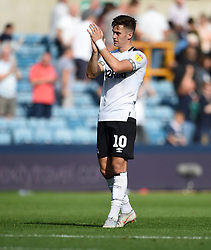 Derby County's Tom Lawrence applauds the away fans at full time