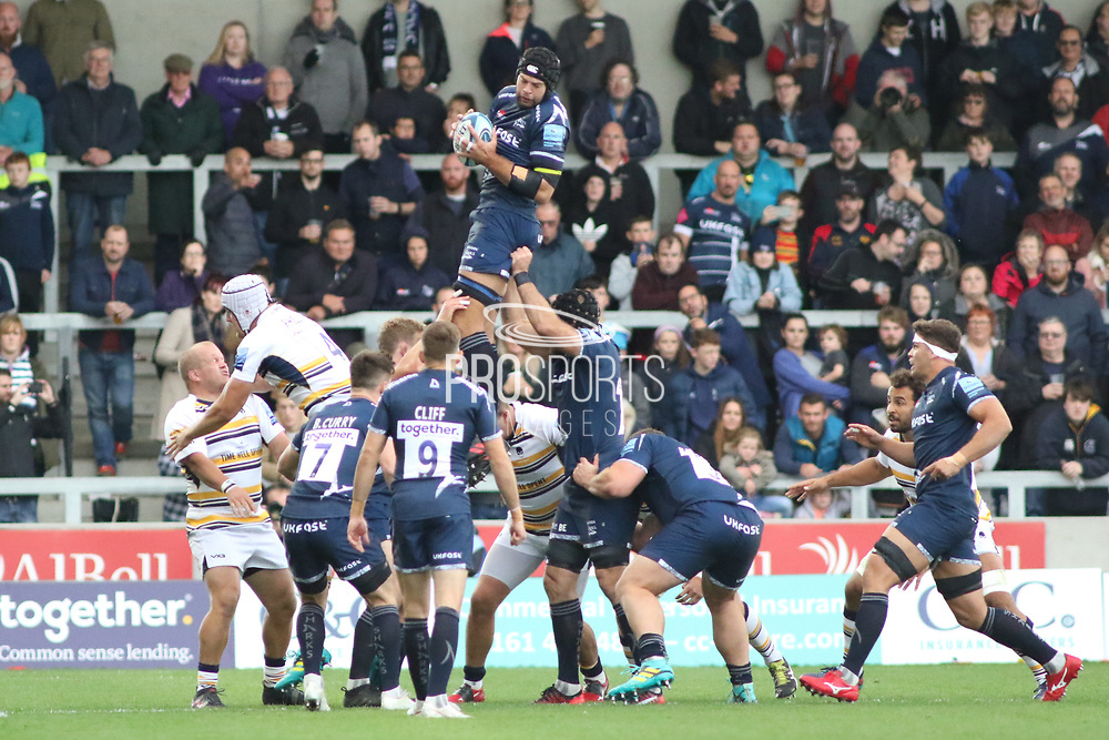 Sale Sharks Josh Beaumont gets clean ball during the Gallagher Premiership Rugby match between Sale Sharks and Worcester Warriors at the AJ Bell Stadium, Eccles, United Kingdom on 9 September 2018.