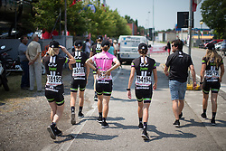 Leah Kirchmann (CAN) of and her Liv-Plantur Cycling Team team mates walk to the sing on before the Giro Rosa 2016 - Stage 1. A 104 km road race from Gaiarine to San Fior, Italy on July 2nd 2016.
