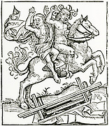 'The Devil carrying off the Witch of Berkeley, England, c1045.  Woodcut from ''Liber chronicarum mundi'' Nuremberg, 1493.'