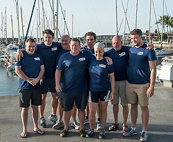 **VIDEO Available here: http://tinyurl.com/hl8y6t3 ** © London News Pictures. File pic dated 29/01/2016 Puerto de Mogan, Gran Canaria. The crew of The Toby Wallace set off to try and break the record for the fastest crossing by rowing boat of the Atlantic Ocean. MIKE JOHNSON (pictured centre with curly hair)  is currently missing at sea after their boat was rocked by a large wave causing several crew to be thrown over-board. Coastguards have now called off a search for a 21-year-old Zimbabwean rower Mike Johnson. Photo credit: credit: Ian Homer/LNP