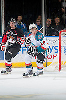KELOWNA, CANADA - DECEMBER 30: Gage Quinney #20 of Kelowna Rockets skates against the Prince George Cougars on December 30, 2014 at Prospera Place in Kelowna, British Columbia, Canada.  (Photo by Marissa Baecker/Shoot the Breeze)  *** Local Caption *** Gage Quinney;