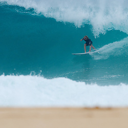 Owen Wright on a backdoor bomb. North Shore, Oahu.