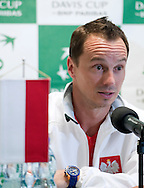 Radoslaw Szymanik - captain of Polish team while press conference three days before the BNP Paribas Davis Cup 2013 between Poland and South Africa at MOSiR Hall in Zielona Gora on April 02, 2013...Poland, Zielona Gora, April 02, 2013..Picture also available in RAW (NEF) or TIFF format on special request...For editorial use only. Any commercial or promotional use requires permission...Photo by © Adam Nurkiewicz / Mediasport