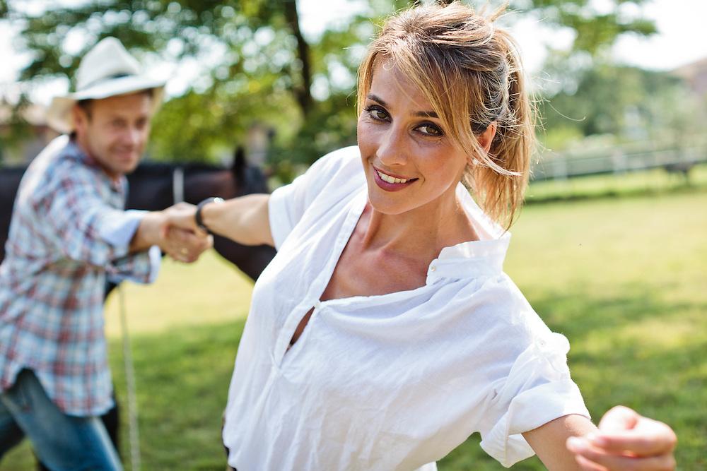 08 JUL 2011 - Lonato (Brescia) -  Rózsa Tassi (ex Miss Ungheria, ex attrice porno con lo pseudonimo di Rosa Caracciolo) con il marito Rocco Tano (in arte Rocco Siffredi)