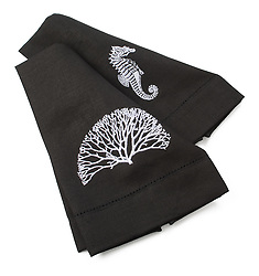 Black napkins with ocean animals