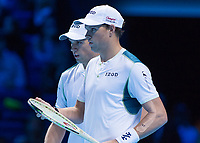 Tennis - 2017 Nitto ATP Finals at The O2 - Day Two<br /> <br /> Mens Doubles: Group Woodbridge/Woodforde: Jamie Murray (Great Britain) & Bruno Soares (Brazil) Vs Bob Bryan (United States) & Mike Bryan (United States)<br /> <br /> The Bryan brothers (Bob and Mike) <br /> at the O2 Arena<br /> <br /> COLORSPORT/DANIEL BEARHAM