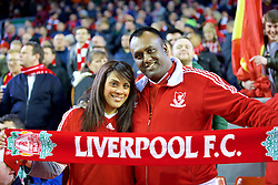 LIVERPOOL, ENGLAND - Thursday, March 10, 2016: Two Liverpool supporters before of the UEFA Europa League Round of 16 1st Leg match against Manchester United at Anfield. (Pic by David Rawcliffe/Propaganda)