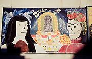 Funny murals for Di?a de los Muertos (All saints, day of the dead) at a school yard.