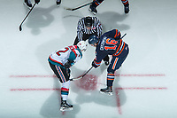 KELOWNA, CANADA - FEBRUARY 24:  Erik Gardiner #12 of the Kelowna Rockets faces off against Nick Chyzowski #16 of the Kamloops Blazers on February 24, 2018 at Prospera Place in Kelowna, British Columbia, Canada.  (Photo by Marissa Baecker/Shoot the Breeze)  *** Local Caption ***