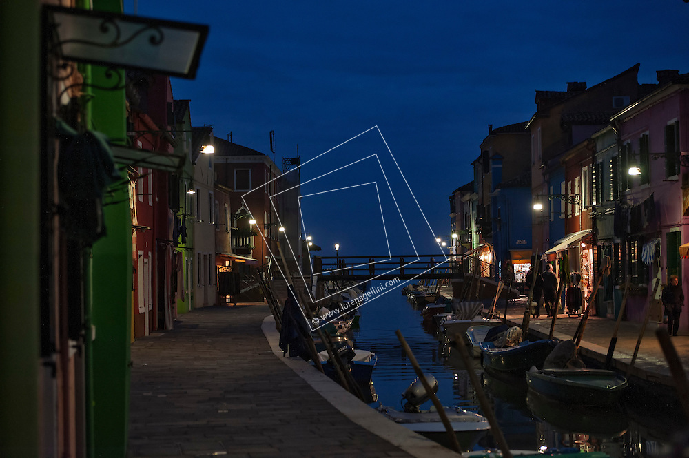 Dusk, blue hour, Island of Burano, Italy
