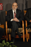 Chairman of the Federal Reserve Board of the United States Ben Bernanke at the 'Conversation on the Economy,' a forum held at Pfahl Hall in the Fisher College of Business at Ohio State on Nov. 30, 2010..