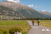 Cycling the Inn Valley, Engadine, Switzerland Photographed at Celerina, Maloja Region, Graubünden, Switzerland