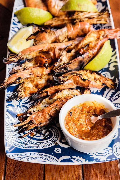Pir-piri prawns at Anantara Bazaruto Island Resort