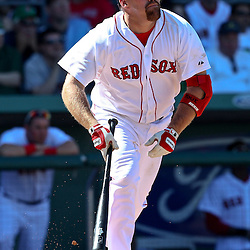 March 12, 2011; Fort Myers, FL, USA; Boston Red Sox third baseman Kevin Youkilis (20) during a spring training exhibition game against the Florida Marlins at City of Palms Park. The Red Sox defeated the Marlins 9-2.  Mandatory Credit: Derick E. Hingle