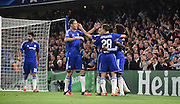 Chelsea celebrate taking the lead during the Champions League group stage match between Chelsea and Dynamo Kiev at Stamford Bridge, London, England on 4 November 2015. Photo by Michael Hulf.