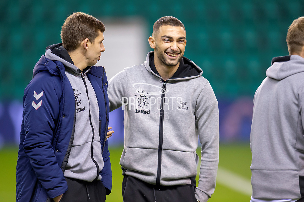 Eros Grezda (#35) of Rangers FC jokes with Jonathon Flanagan (#15) of Rangers FC before the Ladbrokes Scottish Premiership match between Hibernian and Rangers at Easter Road, Edinburgh, Scotland on 19 December 2018.