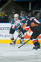 KELOWNA, CANADA - FEBRUARY 28: Nick Merkley #10 of Kelowna Rockets looks for the pass against the Calgary Hitmen on February 28, 2015 at Prospera Place in Kelowna, British Columbia, Canada.  (Photo by Marissa Baecker/Shoot the Breeze)  *** Local Caption *** Nick Merkley;