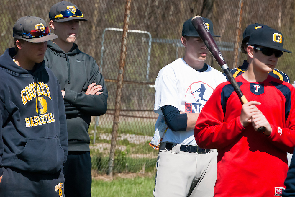 Lathan Goumas | MLive.com..April 17, 2012 - Members of the Goodrich High School baseball team listen to their coach before beginning practice on Tuesday at Goodrich High School in Atlas Township.
