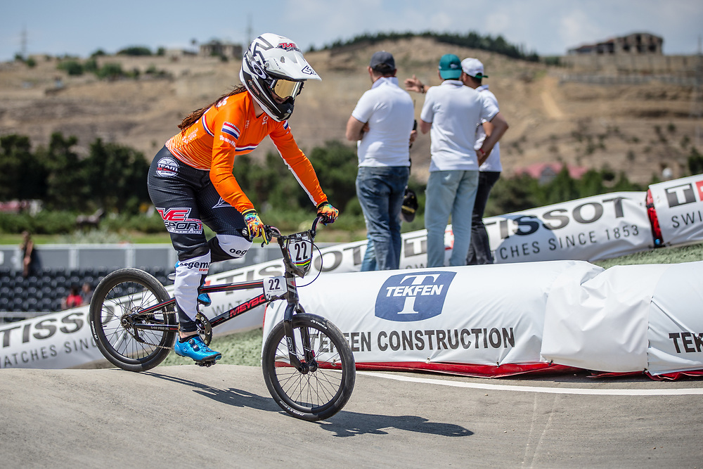 Women Elite #22 (SMULDERS Merel) NED at the 2018 UCI BMX World Championships in Baku, Azerbaijan.