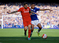 LIVERPOOL, ENGLAND - Sunday, October 4, 2015: Liverpool's Danny Ings in action against Everton's Brendan Galloway during the Premier League match at Goodison Park, the 225th Merseyside Derby. (Pic by Lexie Lin/Propaganda)