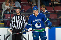 KELOWNA, BC - SEPTEMBER 29: Jake Virtanen #18 of the Vancouver Canucks skates to line up against the Arizona Coyotes  at Prospera Place on September 29, 2018 in Kelowna, Canada. (Photo by Marissa Baecker/NHLI via Getty Images)  *** Local Caption *** Jake Virtanen