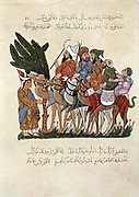 Travellers on camels, greeted at end of their journey. After 13th century Arab manuscript