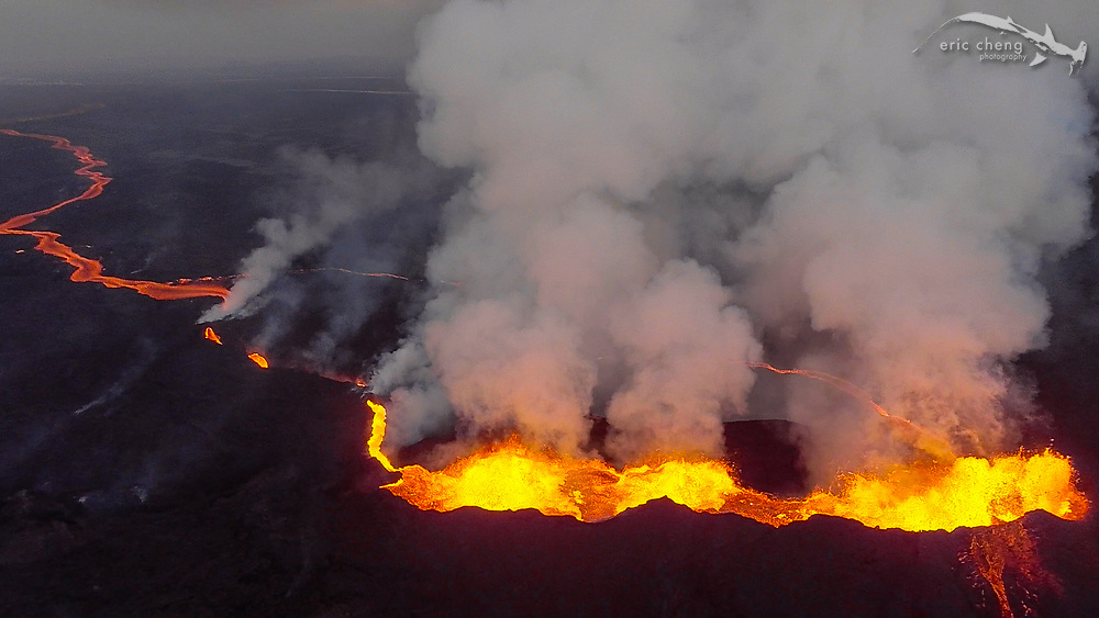 Aerial image of Holuhraun volcano eruption, Bardarbunga volcanic system, Iceland. Screenshot from video taken using DJI Phantom 2 and GoPro.