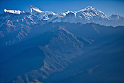 The Annapurna Range of the Nepal Himalaya photographed from an ultralight plane.