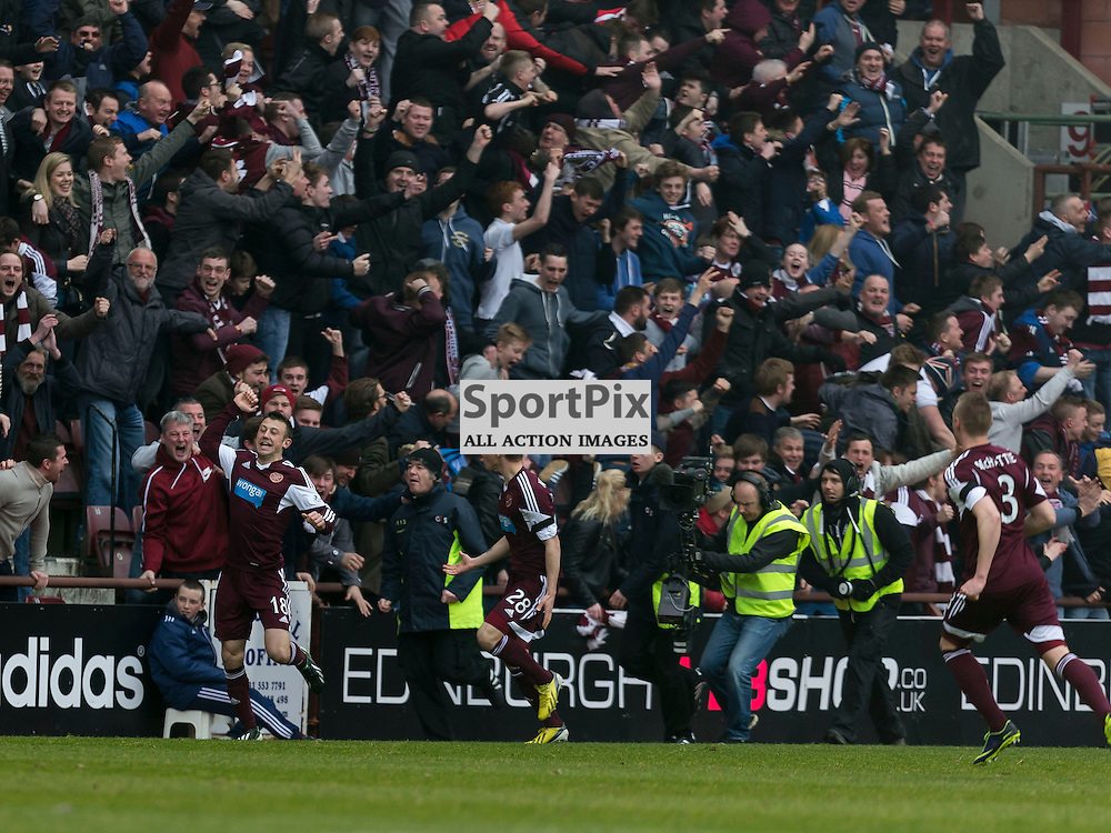 Hearts v Hibernian   SPFL season 2013-2014 <br /> <br /> Dale Carrick (Hearts) celebrates opening goal during the Scottish Premiership Football League match between Hearts and Hibernian at Tynecastle Stadium on 30 March 2014<br /> <br /> Picture: Alan Rennie