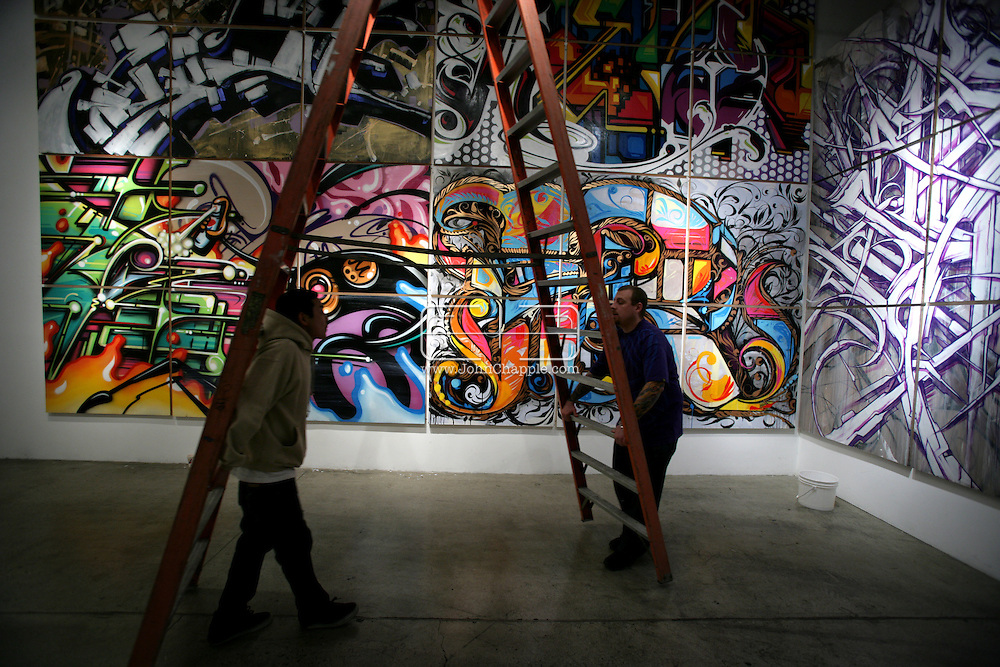 17th January 2008, Santa Monica, California. Legendary L.A. graffiti crew 'Angels Will Rise', have spent the last 20 years adding colour to some of the duller parts of Southern California, of both the illegal and commissioned variety. As the art form becomes more mainstream, the group is having their own show at the Robert Berman Gallery, in Santa Monica. The artists include, Saber, known for creating the world's largest graffiti piece in the L.A. River channel and Revok, who is widely considered to be the godfather of modern-day graffiti..PHOTO © JOHN CHAPPLE / REBEL IMAGES.john@chapple.biz    www.chapple.biz
