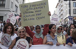 July 29, 2017 - Istanbul, Turkey - Protesters hold signs and banner as thousands gather in Istanbul on July 29, 2017 to denounce the increase in violence and abuse against women (Credit Image: © Erhan Demirtas/NurPhoto via ZUMA Press)