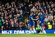Chelsea (28) César Azpilicueta, celebrates with lAlvaro  Morata  after scoring goal during the Premier League match between Chelsea and West Ham United at Stamford Bridge, London, England on 8 April 2018. Picture by Sebastian Frej.
