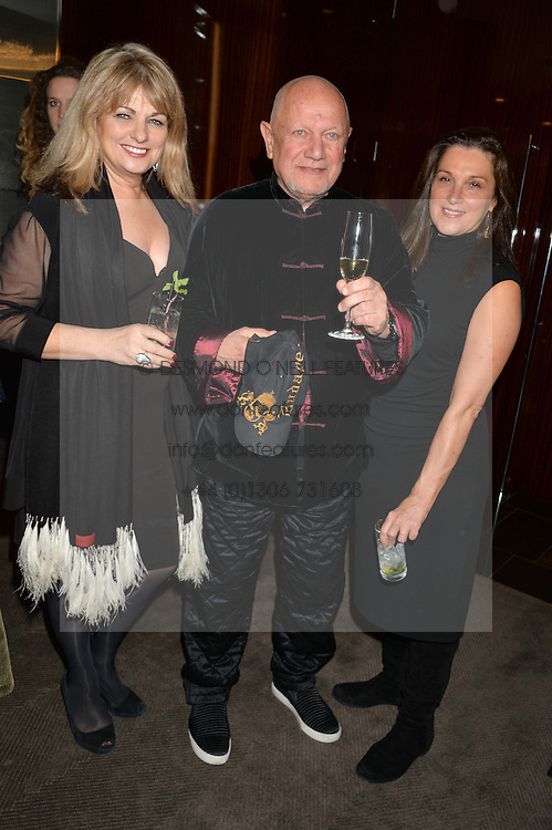 Left to right, CAROLE ASHBY, STEVEN BERKOFF and BARBARA BROCCOLI at a dinner hosted by Liberatum to honour Francis Ford Coppola held at the Bulgari Hotel & Residences, 171 Knightsbridge, London on 17th November 2014.