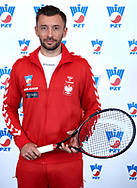 Warsaw, Poland - 2017 December 11: Tennis' player Michal Przysiezny from Poland poses to the picture while Photo Session of Davis Cup Team of Polish Tennis Association at Regent Hotel on December 11, 2017 in Warsaw, Poland.<br /> <br /> Mandatory credit:<br /> Photo by © Adam Nurkiewicz / Mediasport<br /> <br /> Adam Nurkiewicz declares that he has no rights to the image of people at the photographs of his authorship.<br /> <br /> Picture also available in RAW (NEF) or TIFF format on special request.<br /> <br /> Any editorial, commercial or promotional use requires written permission from the author of image.