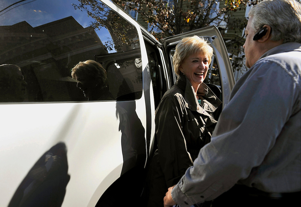 Republican candidate for U.S. Senate Linda McMahon talks with Paul Hopco of Bethel during a business tour of Guilford, Conn., Thursday, Oct. 14, 2010. Former World Wrestling Entertainment CEO McMahon is battling Richard Blumenthal, the Connecticut  Attorney General, for the senate seat being vacated by the retiring Sen. Chris Dodd. (AP Photo/Jessica Hill)
