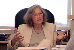 Elizabeth H. Blackburn, PhD, 60, of the University of California, San Francisco was named  to receive the 2009 Nobel Prize in Physiology or Medicine. Blackburn shares the award with Carol W. Greider of Johns Hopkins University School of Medicine and Jack W. Szostak of Harvard Medical School Dr.  Blackburn, pictured here in 2004 in her office at Genentech Hall, is a leader in the area of telomere and telomerase research.  Photo by Kim Kulish