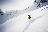 Halcy Webster skiing in the San Juan Mountains, Colorado.