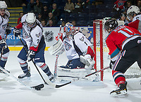 KELOWNA, CANADA - NOVEMBER 28: Eric Comrie #1 of the Tri City Americans defends the net at the Kelowna Rockets on November 28, 2012 at Prospera Place in Kelowna, British Columbia, Canada (Photo by Marissa Baecker/Shoot the Breeze) *** Local Caption ***