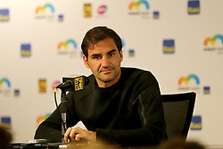 March 22, 2018 - Key Biscayne, FL, USA - Roger Federer of Switzerland, currently ranked world No. 1 in men's singles, talks to the media at the Miami OpenTennis tournament 2018, presented by Itau, in Key Biscayne, Fla., on Thursday, March 22, 2018. (Credit Image: © Pedro Portal/TNS via ZUMA Wire)