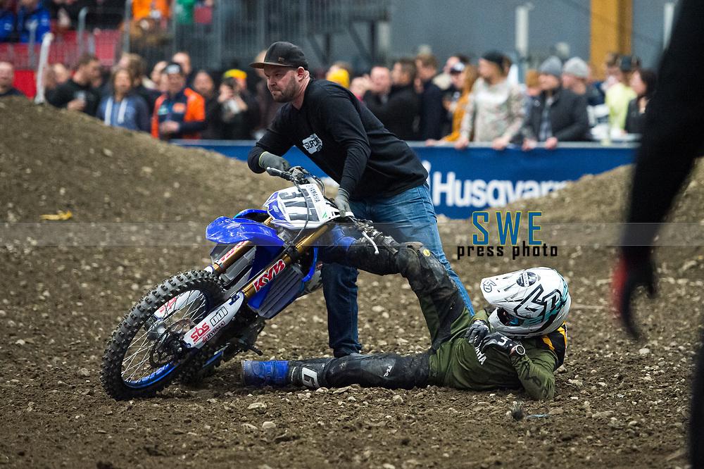 2019-11-08 | Messu- ja urheilukeskus, Tampere: (377) Nichlas Bjerregaard after the crash during Tampere Supercross in Messu- ja urheilukeskus. ( Photo by: Elmeri Elo | Swe Press Photo )