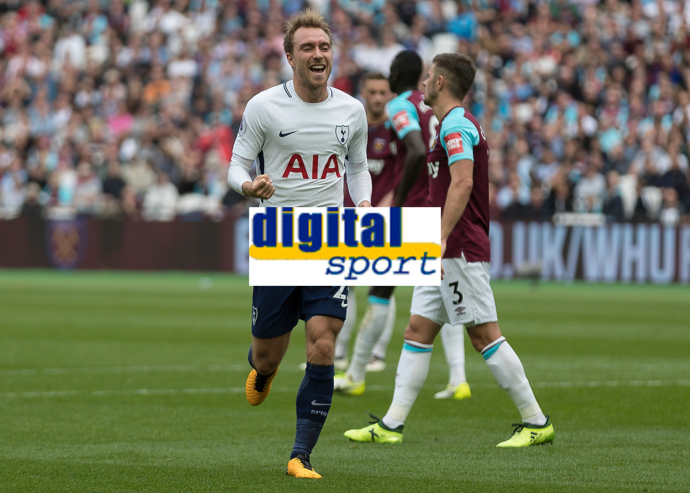 Football - 2017 / 2018 Premier League - West Ham United vs Tottenham Hotspur<br /> <br /> Christian Eriksen (Tottenham FC)  celebrates after his goal and his teams third at the London Stadium<br /> <br /> COLORSPORT/DANIEL BEARHAM