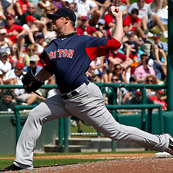 March 16, 2011; Lake Buena Vista, FL, USA; Boston Red Sox starting pitcher Jon Lester (31) during a spring training exhibition game against the Atlanta Braves at the Disney Wide World of Sports complex.  Mandatory Credit: Derick E. Hingle