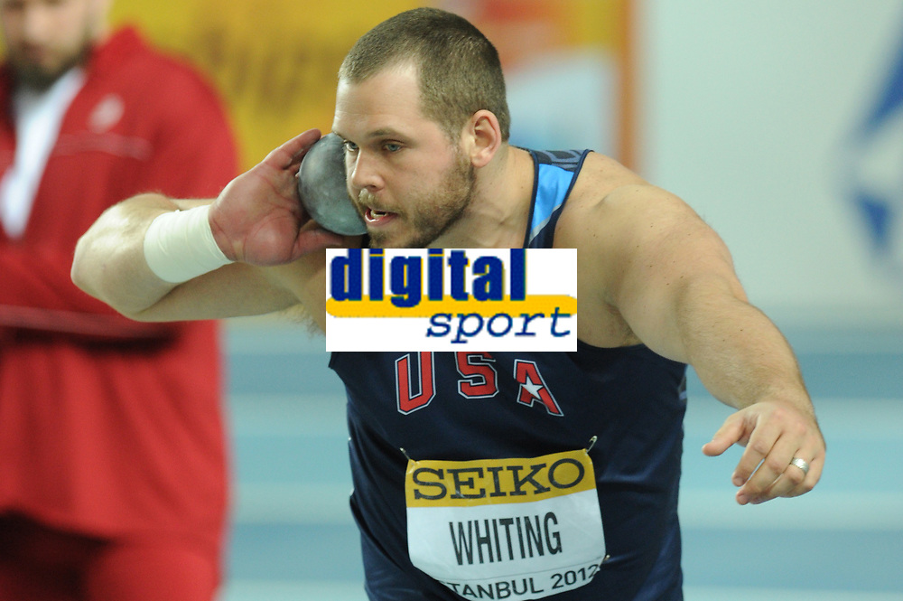ATHLETICS - WORLD CHAMPIONSHIPS INDOOR 2012 - ISTANBUL (TUR) 09 to 11/03/2012 - PHOTO : STEPHANE KEMPINAIRE / KMSP / DPPI - <br /> SHOT PUT - MEN - FINALE - GOLD MEDALE - RYAN WHITING (USA)