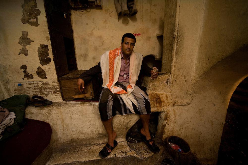 In the hammams of Sana'a, Yemen..A guardian of a hammam.