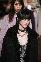 Sora Choi walks the runway wearing Alexander Wang Fall 2016 during New York Fashion Week on February 13, 2016
